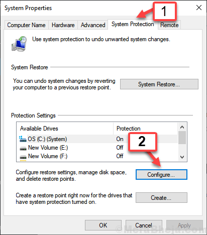 Configure System Protection Min