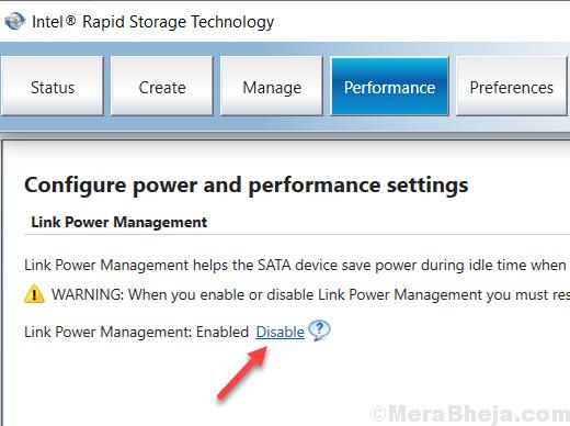 Disable Link Power Management Intel Rapid Storage Min