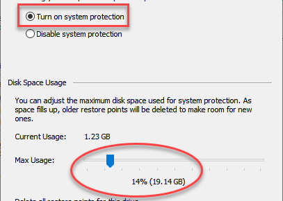 Max Usage System Protection Slider Min