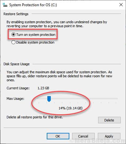Max Usage System Protection Slider Min