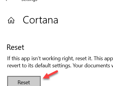 Reset Cortana In Settings