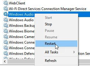 Restart Windows Audio