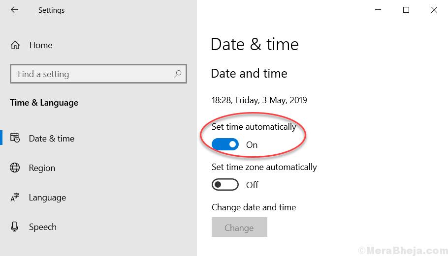 Set Time Automatically Min