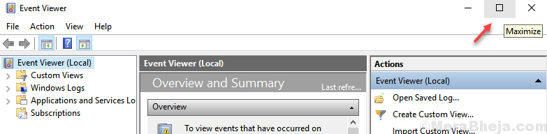 Maximize Event Viewer Min