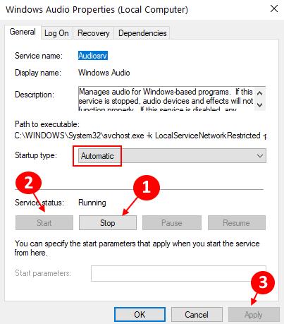 Restart Windows Audio Min