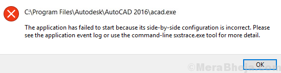 Fix The application has failed to start because the side by