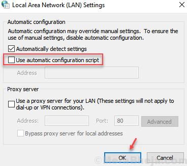 Use Automatic Configuration Script Min
