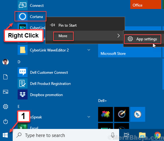 Cortana More Settings