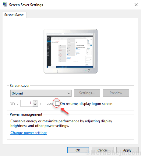 On Resume Display Settings Screen Saver