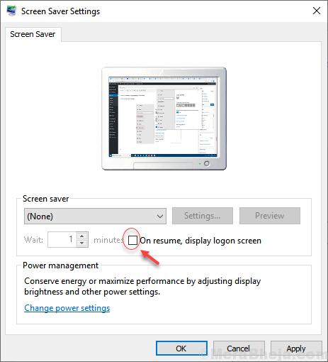 On Resume Display Settings Screen Saver