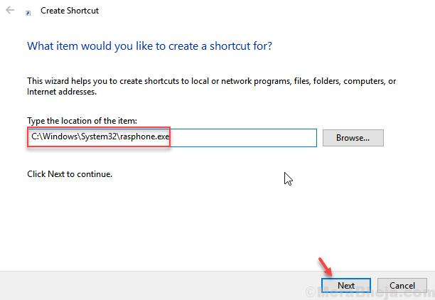 Rasphone Exe Shortcut