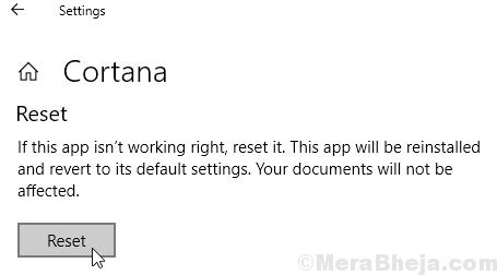 Reset Cortana