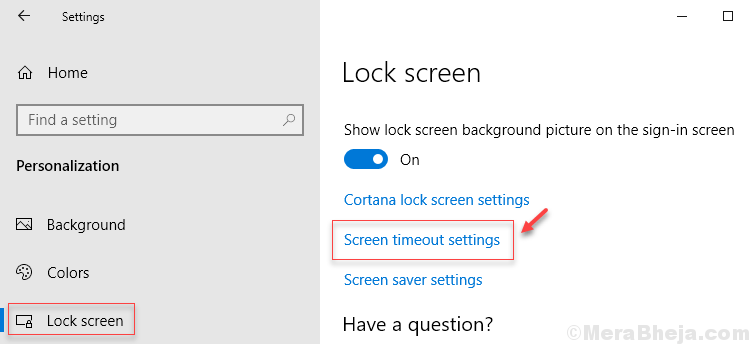 Screen Timeout Settings