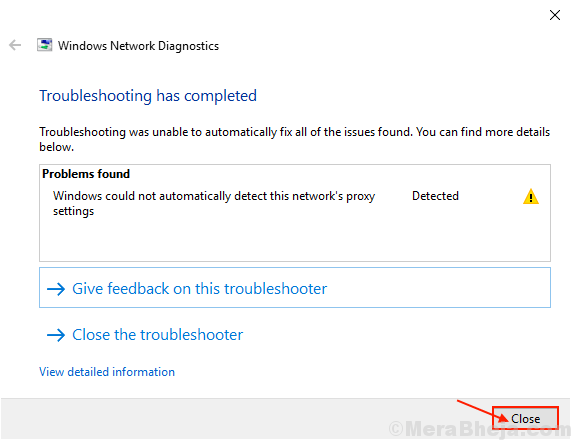 Troubleshoot Close