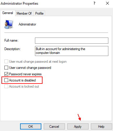 Uncheck Account Disabled Min