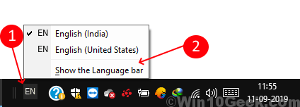 Show Language Bar