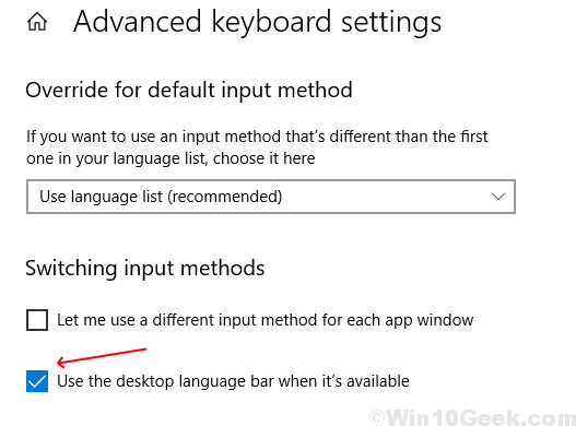 Use Desktop Language Bar