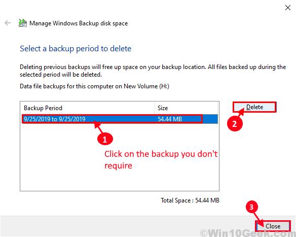 Delete Backup