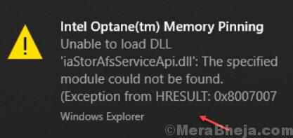 Intel Optane Memory Pinning Error