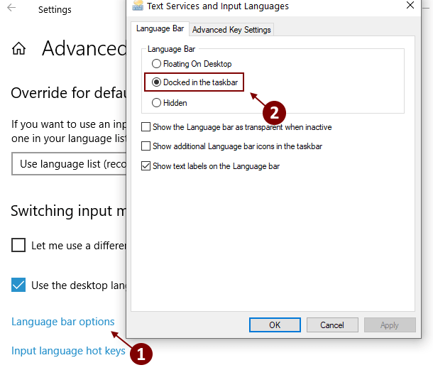 Language Bar Options Min