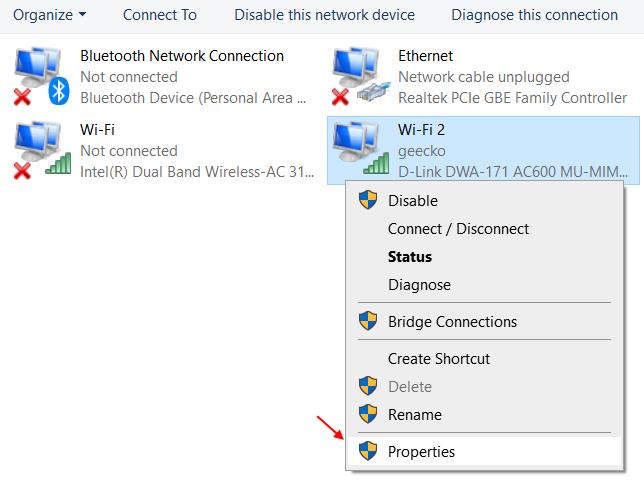Properties Network Adapter 1
