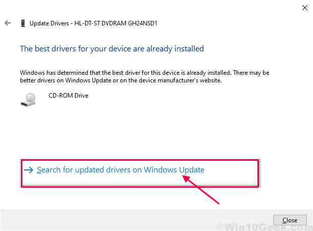 Update Driver With Windows Update