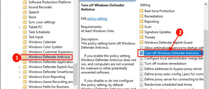 Windows Defender Gpedit