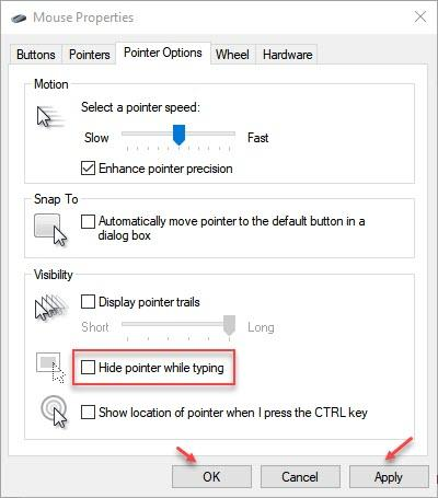 Hide Pointer While Typing Windows 10
