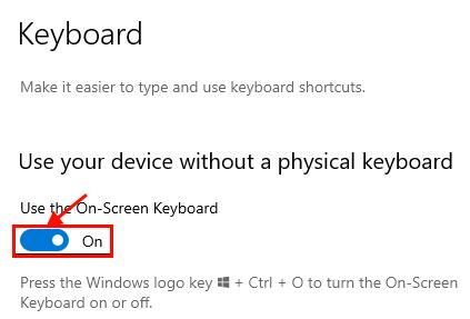 On Screen Keyboard On