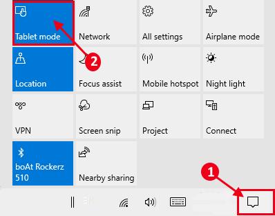 Tablet Mode Enabled