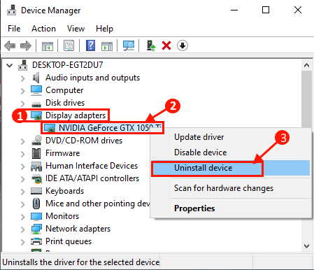 Unisntall Graphics Driver Device Manager