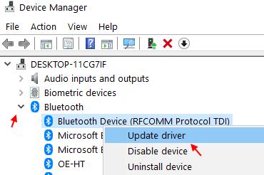 Update Bluetooth Driver Min