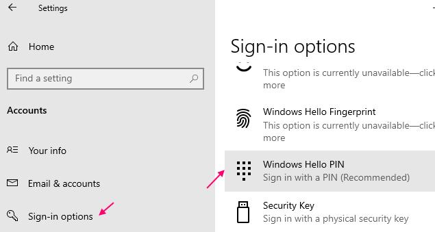 Windows Hello Pin