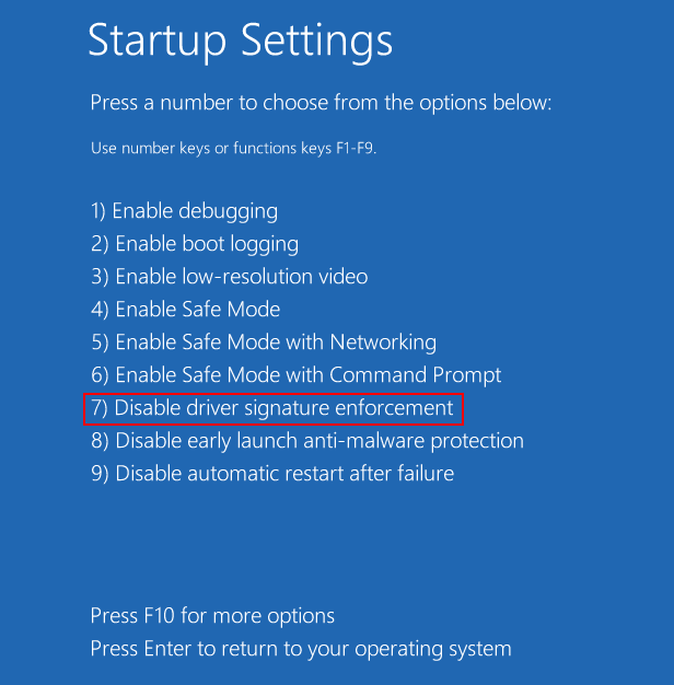 Startup Settings Disable Driver Sign