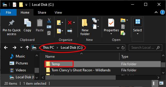 Temp Local Disk C