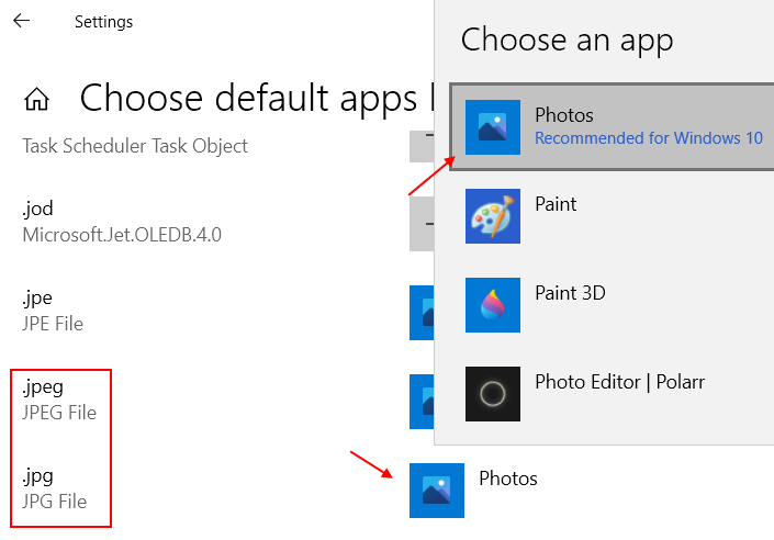 Change Default Apps By File Type Jpeg
