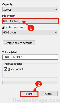 Ntfs Format Start
