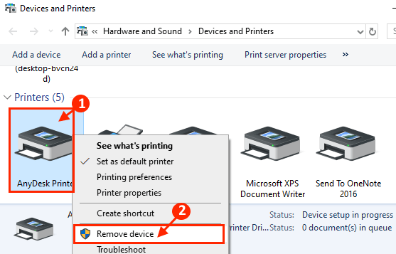 Remove Device Printer
