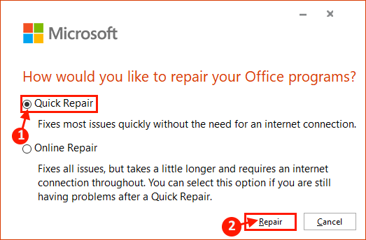 Repair Ms Office Installation
