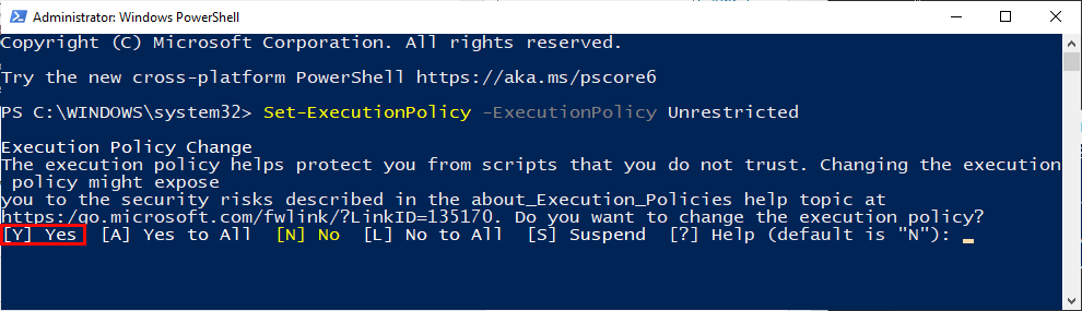 Yes Powershell Scipt