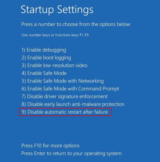 Startup Settings Original
