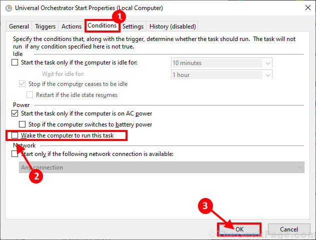 Wake Up Computer To Run This Task Disable