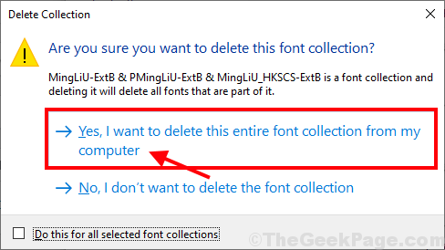 Yes I Want To Delete The Font