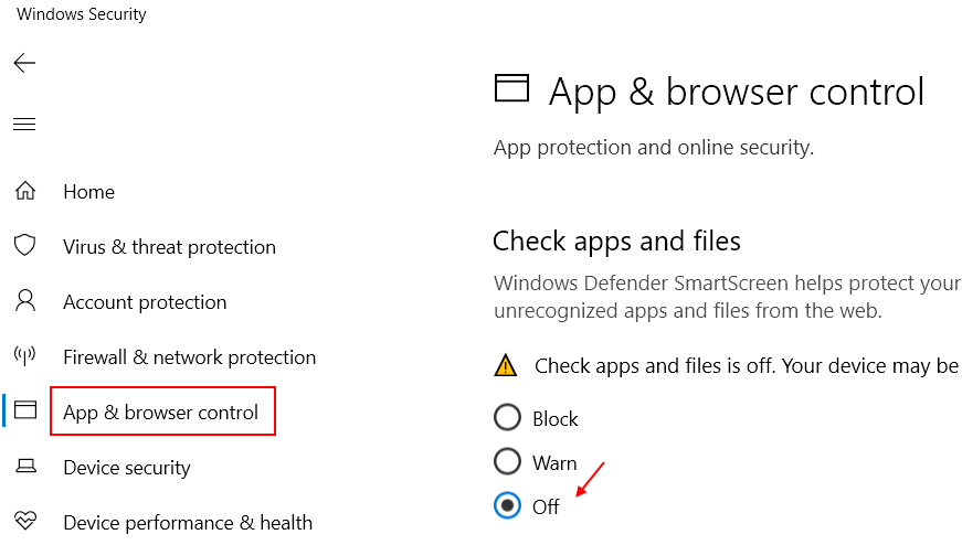 App Browser Control Off
