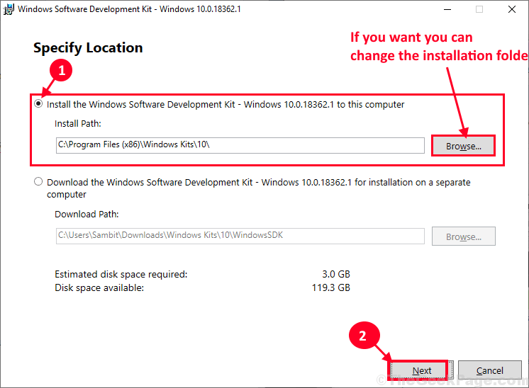 Change The Installation Folder