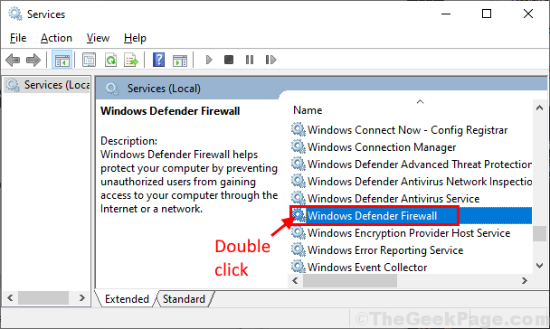 Defender Firewall Double Click