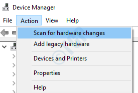 Scan Hardware Changes Action