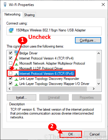Uncheck Ipv6