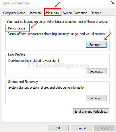Click On Advanced Tab, Click On Settings Under Performance Section.