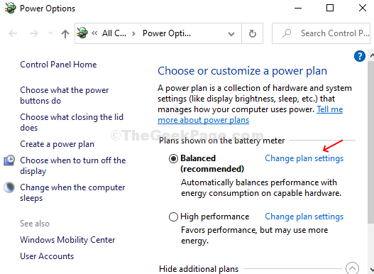 Click On Chnage Plan Settings Next To Active Power Plan